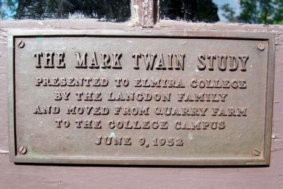 Plaque On the Door of the Mark Twain Study image. Click for full size.