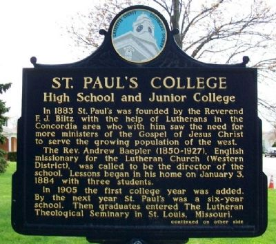St. Paul's College Marker (Side A) image. Click for full size.