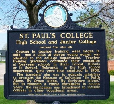 St. Paul's College Marker (Side B) image. Click for full size.