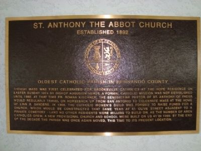 St. Anthony the Abbot Church Marker Photo, Click for full size