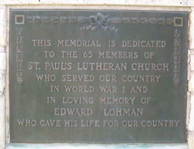 St. Paul's Lutheran Church Veterans Memorial Marker image. Click for full size.