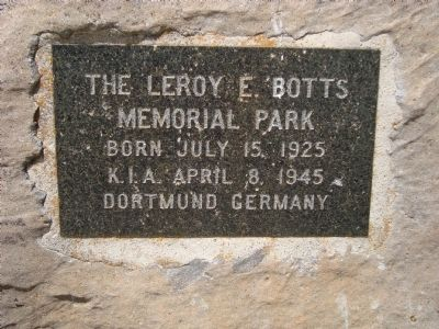 LeRoy E, Botts Memorial Park Marker Photo, Click for full size