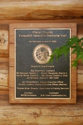 Foresthill Veterans Memorial Hall Plaque image. Click for full size.