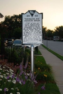 """Shoeless Joe"" Jackson House Marker <br>Reverse image. Click for full size."
