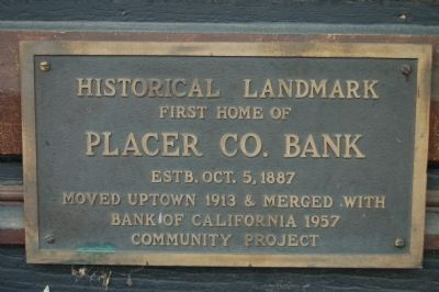 Placer County Bank Marker image. Click for full size.