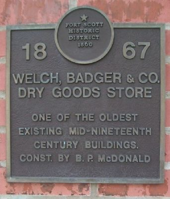Welch, Badger & Co. Dry Goods Store Marker image. Click for full size.