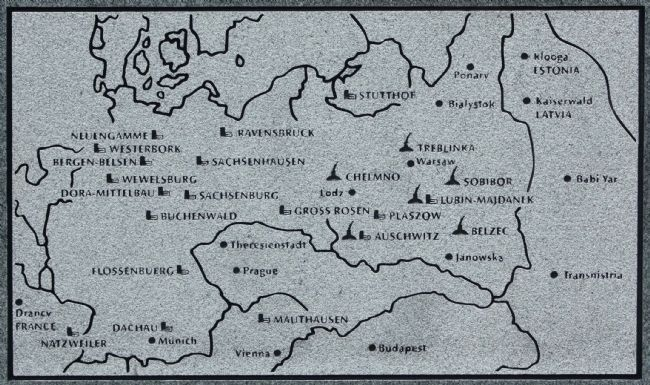 "Death and Concentration Camps where the Nazi Germans implented their ""Final Solution,"" image. Click for full size."