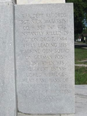 Sgt. Nick Matassini Marker: Left face image. Click for full size.