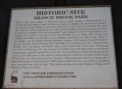 Branch Brook Park Historic Site Marker image. Click for full size.
