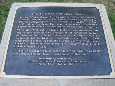 Site of Nevada�s First Public Library Marker image. Click for full size.