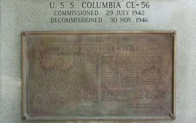 USS Columbia CL-56 Memorial, upper plaque United States Ship Columbia Photo, Click for full size