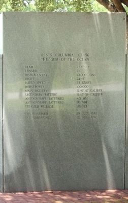 USS Columbia CL-56 Memorial Marker center rear panel Photo, Click for full size