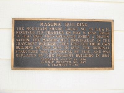 Masonic Building Marker Photo, Click for full size