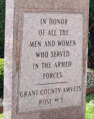 Grant County (Indiana) Veterans Memorial Marker image. Click for full size.