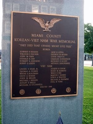 Miami County Korean - Viet Nam War Memorial Marker image. Click for full size.