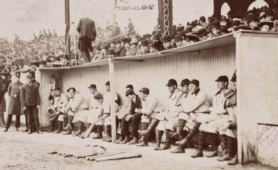 The Pittsburgh Pirates in the dugout at the Huntington Avenue Grounds, 1903 World Series image. Click for full size.