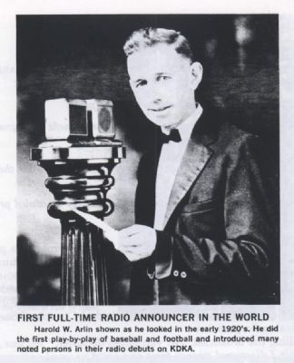 First Full-Time Radio Announcer in the World image. Click for full size.