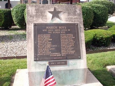 Marion (Indiana) W.W. I Honor Roll Marker image. Click for full size.