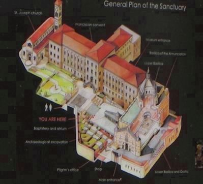 Sanctuario di Nazareth (map of the sanctuary posted on the west wall of the compound) image. Click for full size.