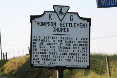 Thompson Settlement Church Marker Photo, Click for full size