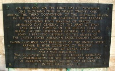 Liberty Memorial Dedication Site Marker image. Click for full size.
