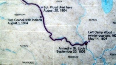 Lewis and Clark Expedition Map on Marker image. Click for full size.