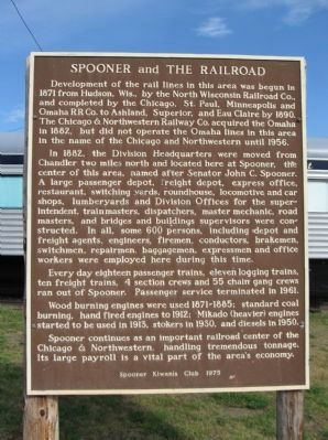 Spooner and The Railroad Marker image. Click for full size.