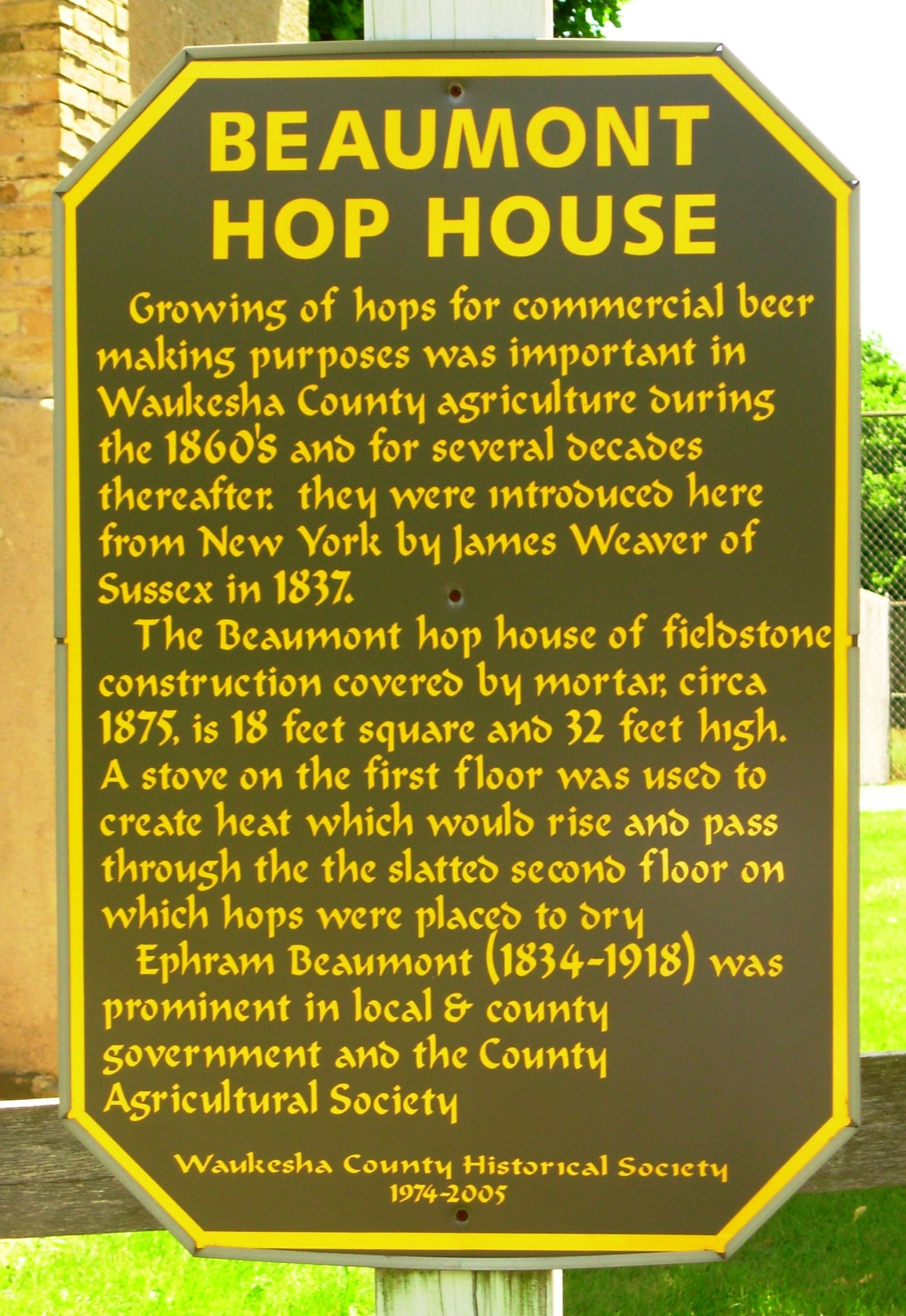 Beaumont Hop House Marker