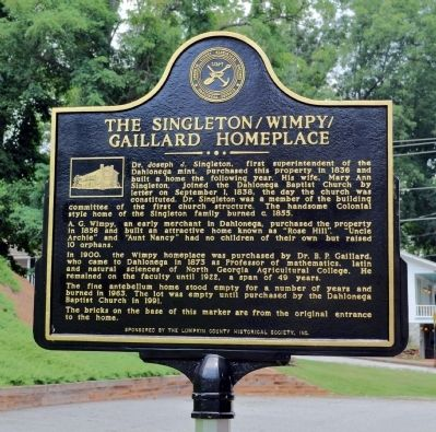 Singleton/Wimpy/Gaillard Homeplace Marker image. Click for full size.