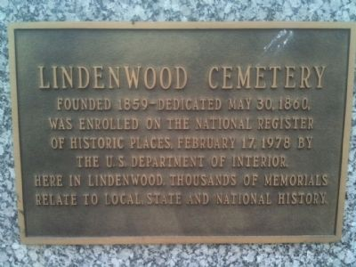 Lindenwood Cemetery Marker image. Click for full size.