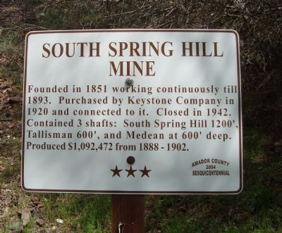 South Spring Hil Mine Marker Photo, Click for full size