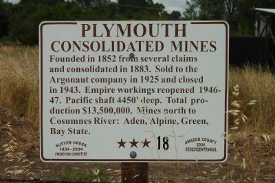 Plymouth Consolidated Mines Marker image. Click for full size.