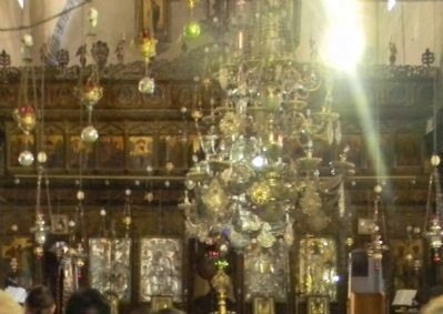 Nativity Church interior: Greek Orthodox iconostasis Photo, Click for full size