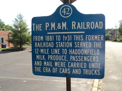 The P.M. & M. Railroad Marker image. Click for full size.