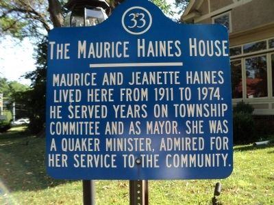 The Maurice Haines House Marker image. Click for full size.