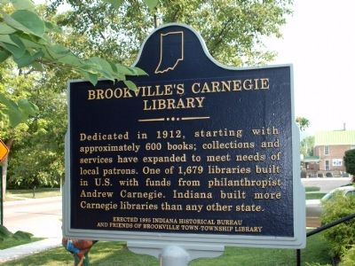 Obverse Side - - Brookville's Carnegie Library Marker image. Click for full size.