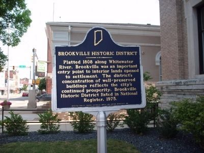 Obverse Side - - Brookville Historic District Marker image. Click for full size.