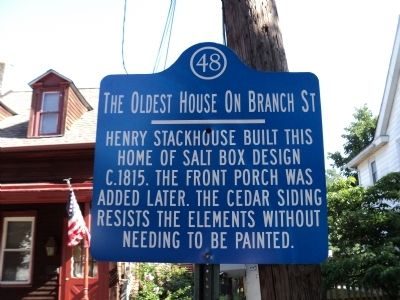 The Oldest House on Branch Street Marker image. Click for full size.