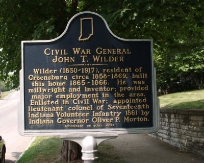 Side 'One' - - Civil War General John T. Wilder Marker image. Click for full size.