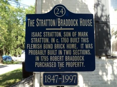 The Stratton/Braddock House Marker image. Click for full size.