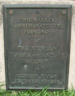 Founding of the Santa Fe Railway Marker image. Click for full size.