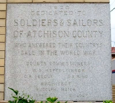 Atchison County Soldiers and Sailors Memorial Hall Cornerstone image. Click for full size.