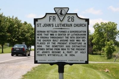 St. John�s Lutheran Church Marker image. Click for full size.