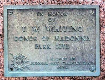 Madonna of the Trail Site Donor Marker image. Click for full size.