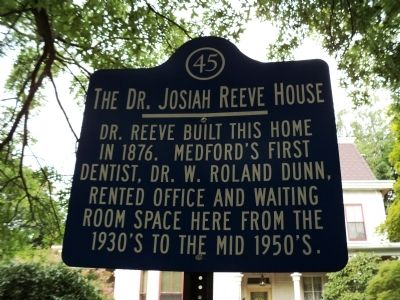 The Dr. Josiah Reeve House Marker image. Click for full size.