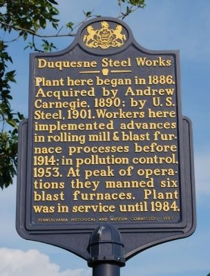 Duquesne Steel Works Marker image. Click for full size.
