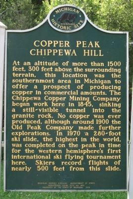 Copper Peak Chippewa Hill Marker image. Click for full size.