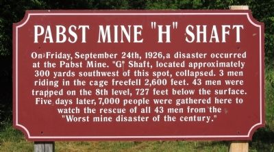 "Pabst Mine ""H"" Shaft Marker image. Click for full size."