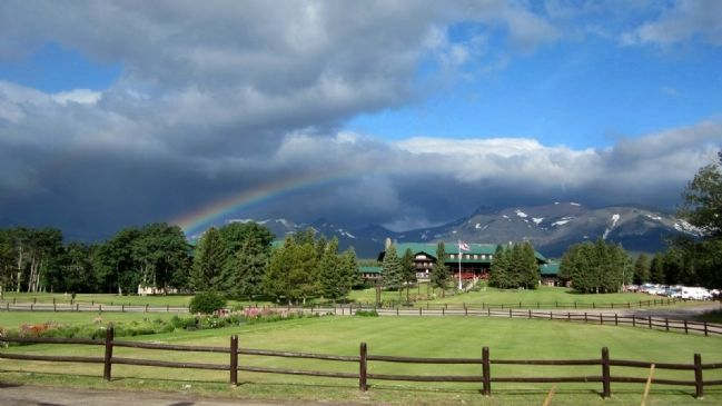 View of Glacier Park Lodge from the station image. Click for full size.
