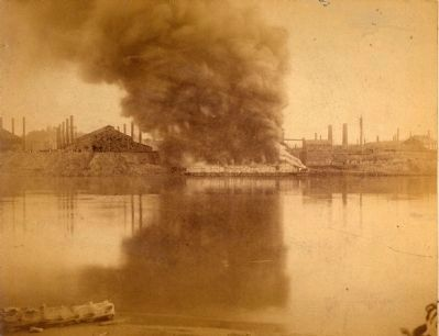 Burning Pinkerton barge on the Mongahela River image. Click for full size.